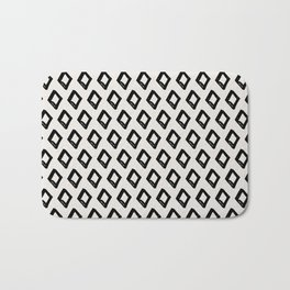 Modern Diamond Pattern 2 Black on Light Gray Bath Mat