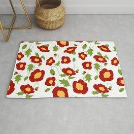 Papercut Poppies - White Rug