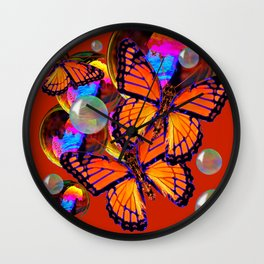 DECORATIVE MONARCH BUTTERFLIES & SOAP BUBBLES  ON TURMERIC  COLOR ART Wall Clock