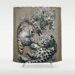 Snow leopard 2 background Shower Curtain
