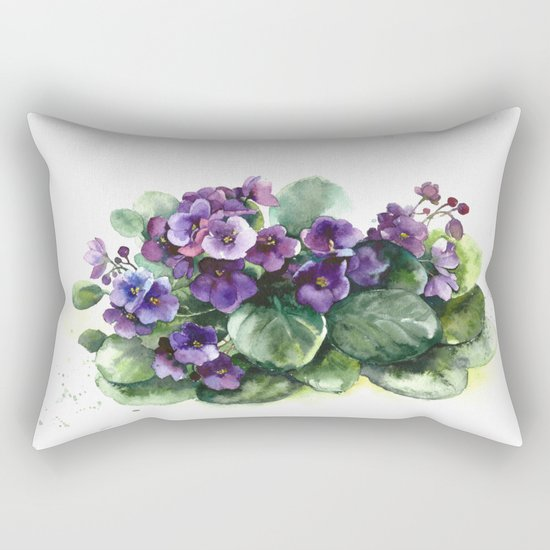 Senpolia viola violet flowers watercolor Rectangular Pillow