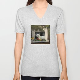 Spring Showers Ferret with Bird Unisex V-Neck