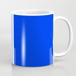 3 White Stripes on Blue Coffee Mug