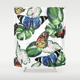 Tropical leaves with butterflies Shower Curtain