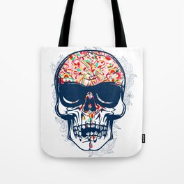 Dead Skull Zombie with Brain Tote Bag