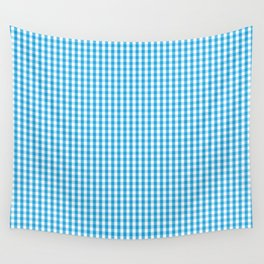 Oktoberfest Bavarian Blue and White Gingham Check Wall Tapestry