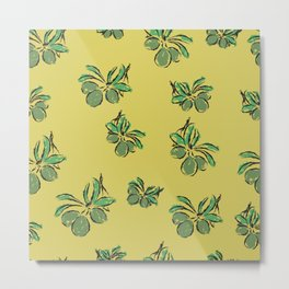 pattern with green olive branches on olive color background Metal Print