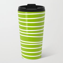 Apple Green & White Maritime Hand Drawn Stripes- Mix & Match with Simplicity of Life Travel Mug