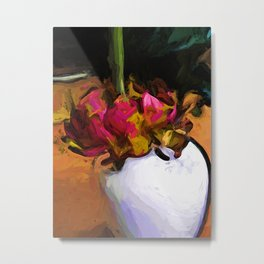 Dying Flower of Pink and Red in a White Vase Metal Print