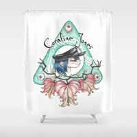 phil jones Shower Curtains featuring Coraline Jones by Alizia Vence