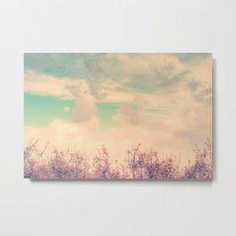 Spring Daydream (Dusty Pink Flowers, Mint Green Sky) Metal Print