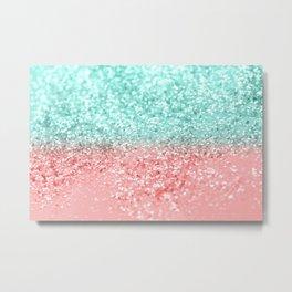 Summer Vibes Glitter #1 #coral #mint #shiny #decor #art #society6 Metal Print