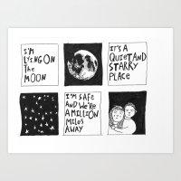 I'm lying on the moon  Art Print