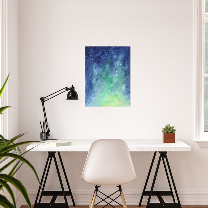 Northern Lights Sky Galaxy Poster