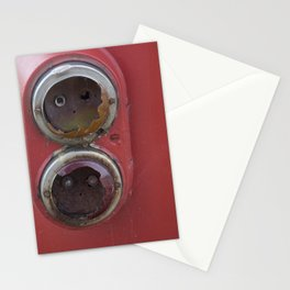 Broken tail lights of old red tram Stationery Cards