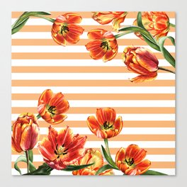 Red Yellow Tulips Stripes Chic Peach Canvas Print
