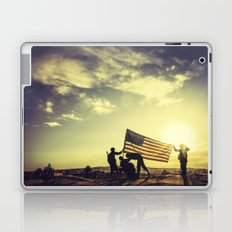 Soldiers Raising An American Flag At Sunset Laptop & iPad Skin