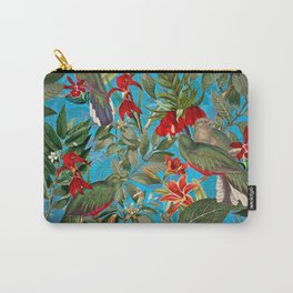 Vintage & Shabby Chic - Tropical Birds and Orchid  Aloha Jungle Flower Garden Carry-All Pouch