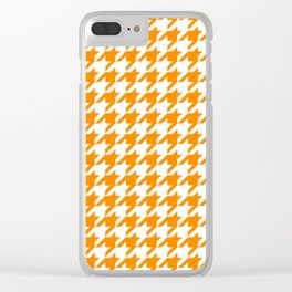 Orange: Houndstooth Checkered Pattern Clear iPhone Case