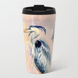 Great Blue Heron at Sunset Travel Mug