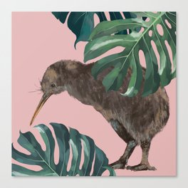 Kiwi Bird with Monstera in Pink Canvas Print