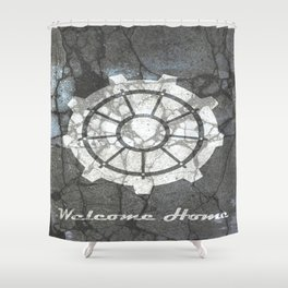 Fallout inspired welcome home, vault door, print, poster, wall art, neutral Shower Curtain