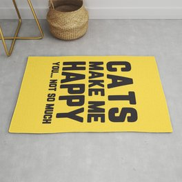 Cats Make Me Happy Funny Quote Rug