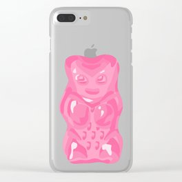Pink Gummi Bear on Mint Background Clear iPhone Case