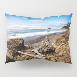 Remnants - Driftwood Logs Come to Rest on Shore of Washington Coast Pillow Sham