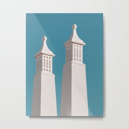 Minimalist Photography Portugal Minerit White Towers Blue Background Scadenvien Style Metal Print