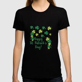 Happy St Saint Patrick's Day Green Clovers Shamrock T-shirt