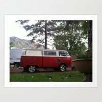 vw bus Art Prints featuring VW BUS  by Katie Corley