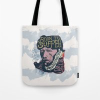 van gogh Tote Bags featuring Van Gogh Typography Drawing by Bacht