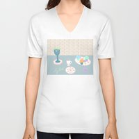 breakfast V-neck T-shirts featuring Breakfast by Sproot