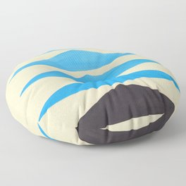 Baby Blue Geometric Triangle Pattern With Black Accent Floor Pillow