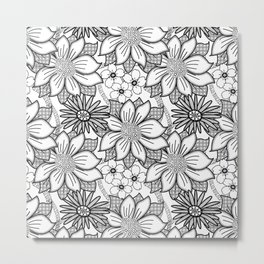 Black and White Floral Drawing Metal Print