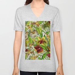 My tropical Orchid Garden- Jungle Pattern Unisex V-Neck