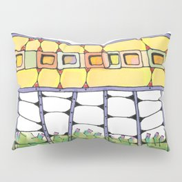 Funky yellow architectural design 51 Pillow Sham