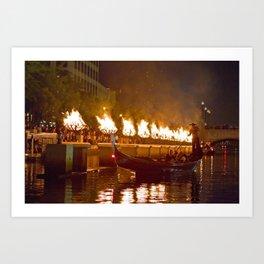 Venetian Gondola on Providence River - Waterfire Providence, Rhode Island Art Print