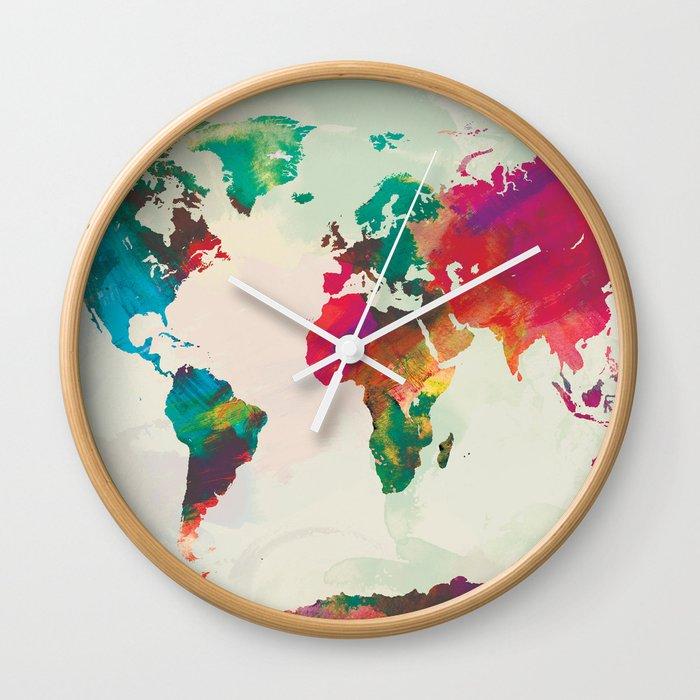 Watercolor World Map Wall Clock