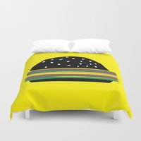 hamburger Duvet Covers featuring fastfood hamburger by lightnass