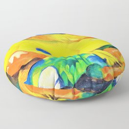 Franz Marc - The Yellow Cow - Digital Remastered Edition Floor Pillow