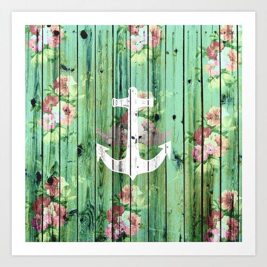 Vintage Floral Nautical Anchor Green Beach Wood Art Print