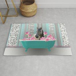 bathtub pink Lotus Flowers with Horse Rug