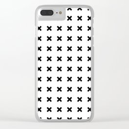 BLACK CROSS ON WHITE BACKGROUND Clear iPhone Case