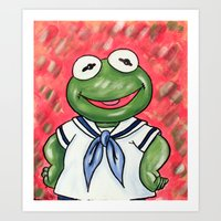 kermit Art Prints featuring Baby Kermit by MSG Imaging