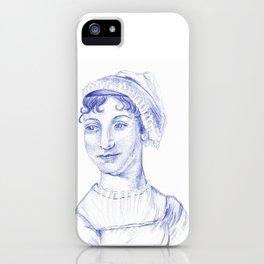 Jane Austen Portrait in Blue Bic Ink Pen iPhone Case