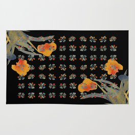 Atom Flowers #34 in orange and blue grey Rug