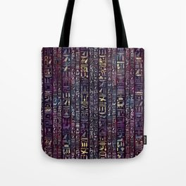 Egyptian hieroglyphs on purple violet painted texture Tote Bag