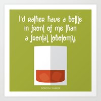 Dorothy Parker Alcohol Quote with Whiskey Glass Art Print